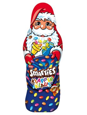 This funny Smarties Santa Claus is a hollow figure made of milk chocolate and perfectly suited for all Nicholas boots. It is filled with 11% colorful and delicious Smarties chocolate lentils, which makes the funny clattering sound....