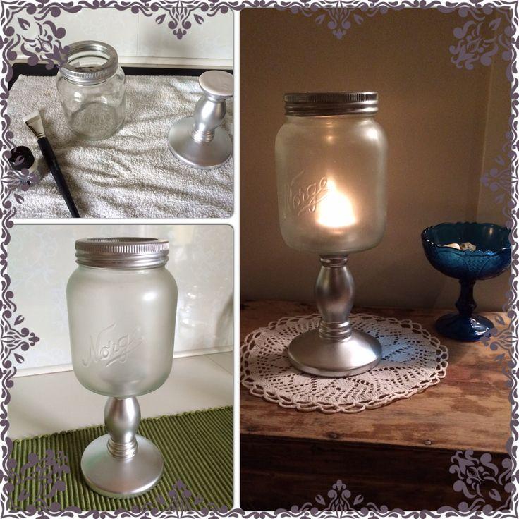 """Norgesglass ble """"frosted"""", deretter limt på en lysestake til stett."""
