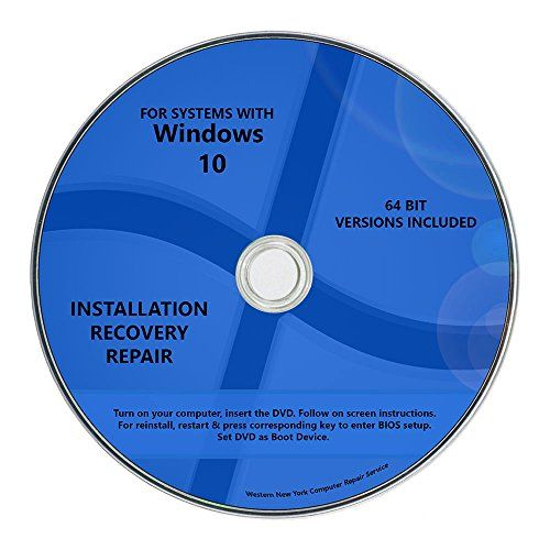 Windows 10 Pro & Home Install Reinstall Restore Upgrade Repair Recovery 64 bit x64 WNYPC Backup Utility DVD - This bootable install DVD will re-install Windows 10 on computer originally came with Windows 10 Home / Pro / other editions,or reinstall 64 bit Windows 10 on computer already upgraded from Windows 7/8 but failed to start up. Instruction included. This product can also upgrade genuine 32 bit Wind...