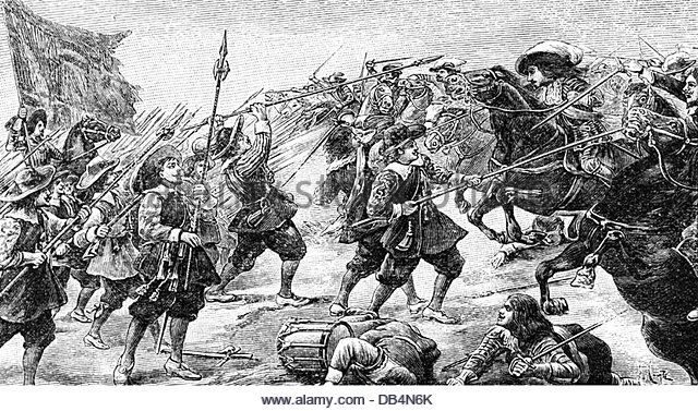 French Spanish War 1635 - 1659, Battle of Rocroi, 19.5.1643, attack of French cavalry against Spanish infantry, wood engraving, - Stock Image
