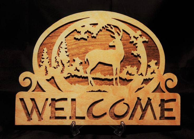 Wooden Deer Welcome Sign by WoodArtByTam on Etsy