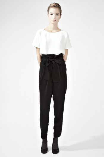 mimic the look of a trendy jumpsuit with high-waisted black pants and a flowy white top #blackandwhite