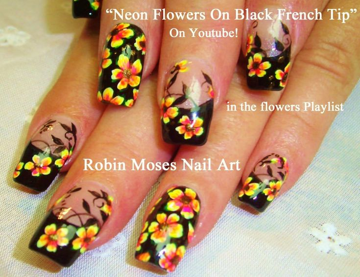 328 best flowers nail art pictures with tutorials images on nail art tutorial diy flower nails neon flowers black tip nail design prinsesfo Gallery