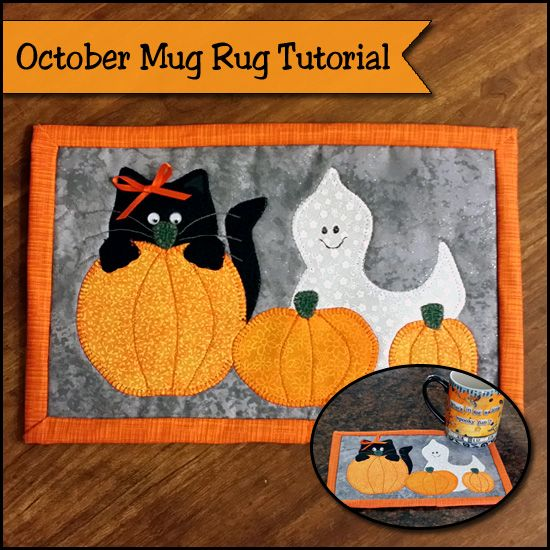 Adorable Halloween Mug Rug pattern and tutorial. Black cat, ghost and pumpkins with the cutest embellishments you'll love for Halloween.