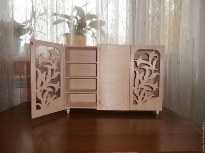 Кукольный шкафчик для одежды `Лилии`. Заготовка для декупажа и росписи.
