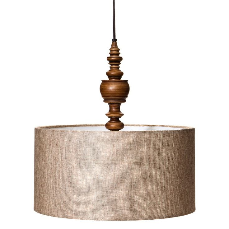 Mudhut Turned Plug In Pendant Lamp With Natural Linen
