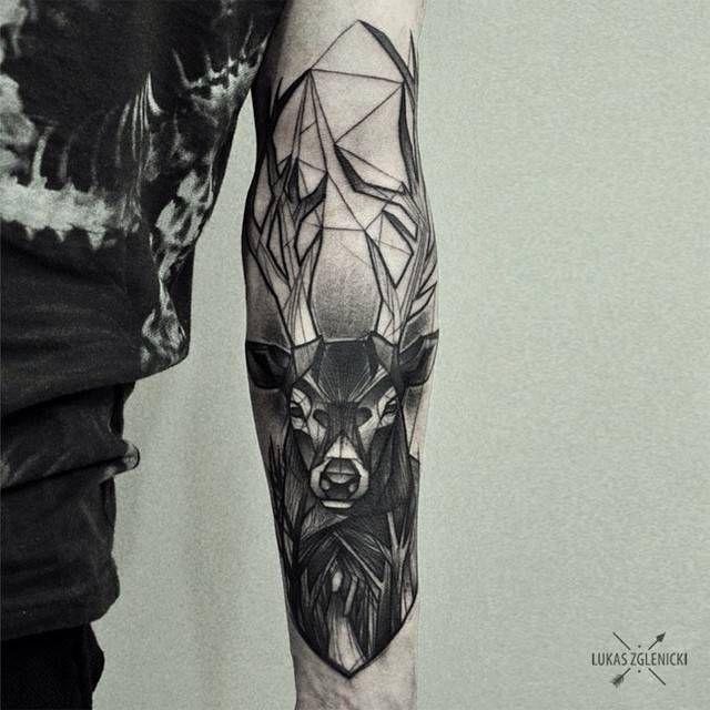 Deer tattoo on the inner forearm inspired in several styles. By Łukas Zglenicki