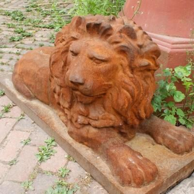 Cast Iron Pair of Lion Statues