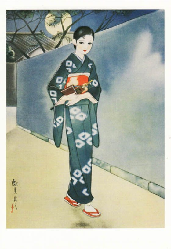 Fukiya Koji 蕗谷虹児 (1898-1979) Betsu ato aishuu 別後哀愁 (After another melancholy), Shoujogahou 少女画報 illustration magazine, 1936
