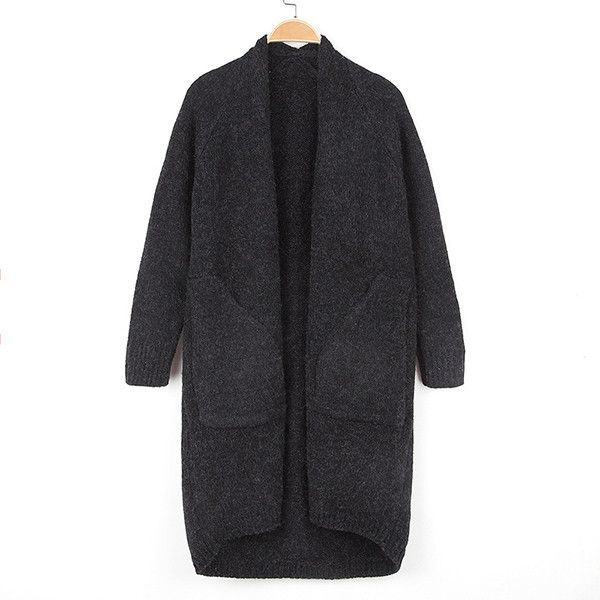 Long Cardigan Sweater New Autumn Khaki Fashion Female Korean Women Long Jacket Sweater Coat Color In Female Kimonos