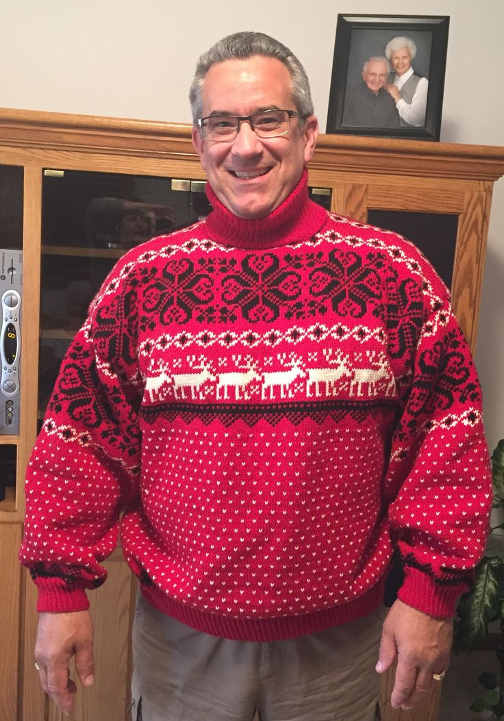Husband Jeff in his newly finished sweater! What fun it was to do!