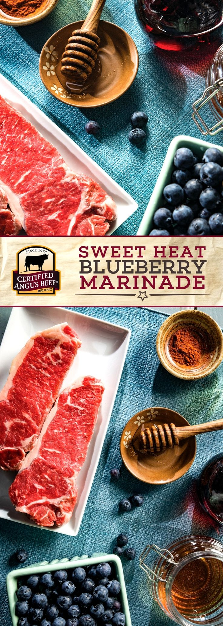 Certified Angus Beef®️️ brand Sweet Heat Blueberry Marinade pairs the deliciously sweet combination of blueberries and HONEY with red wine vinegar, peanut oil, and CAYENNE pepper for a deeply flavorful marinade! Marinate your favorite cut of beef overnight for the best results. #bestangusbeef #certifiedangusbeef #marinade #seasoning