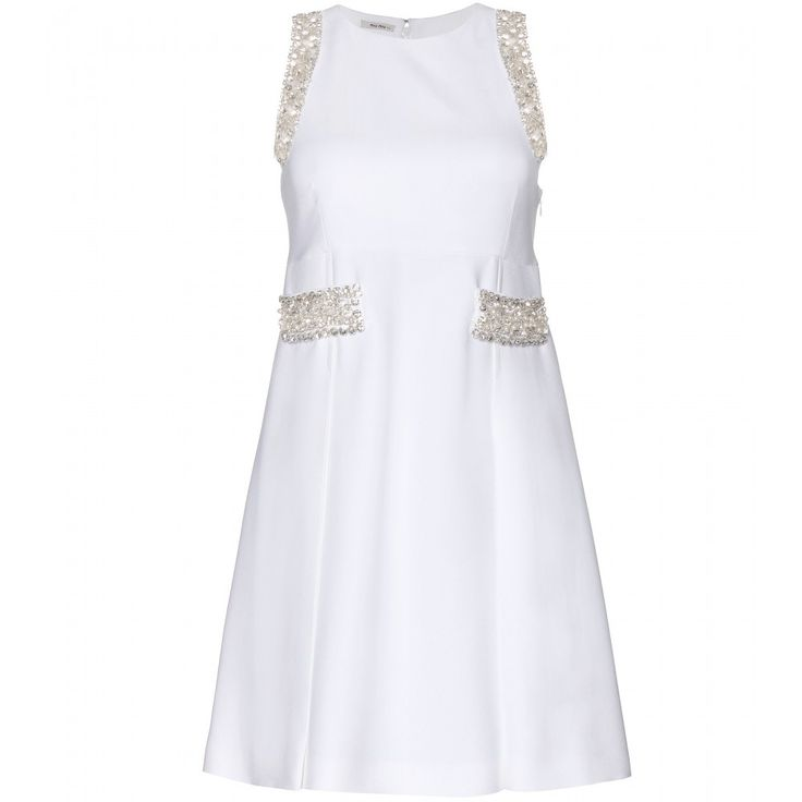 Miu Miu - Embellished crepe dress - Miu Miu's magic touch is at its best in this crepe dress. The shift silhouette is chic, while the delicate crystal-embellishment adds luxurious glitz and glam. Let the pristine white style shine by keeping accessories to a minimum. seen @ www.mytheresa.com
