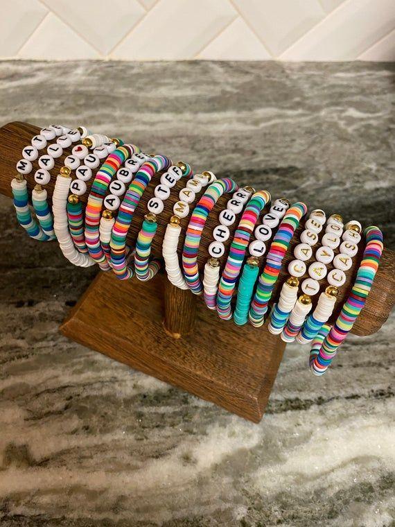 Rainbow Bracelets Block letter Personalized