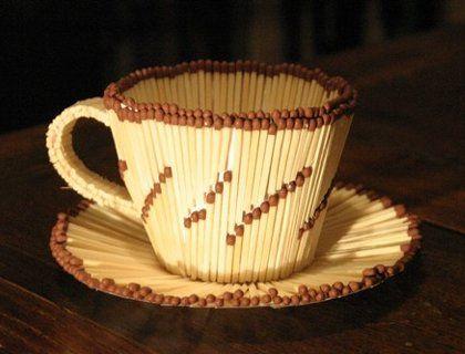 Инструкция поделок из спичек: оригинальная чашка с блюдцем