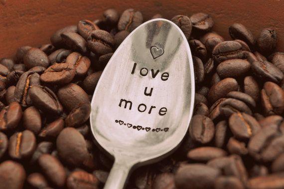 Love You More  Hand Stamped Vintage Coffee by jessicaNdesigns, $17.00