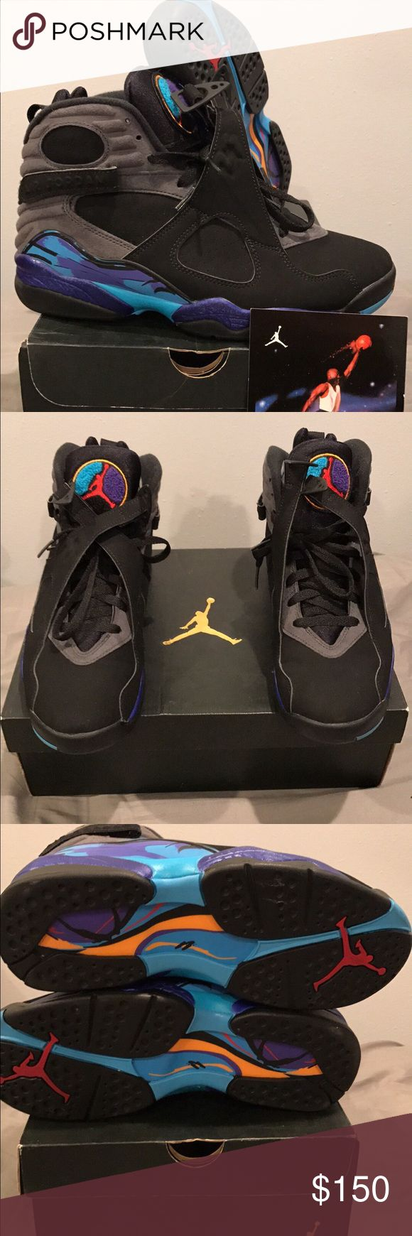 Jordan Aqua 8 Size 8.5.  Used.  9/10 excellent condition.  Comes with retro card and original box Jordan Shoes Sneakers