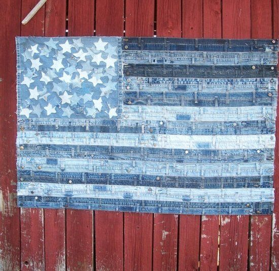 Up cycle old jeans, denim wasteband and scraps reuse for rustic flag wall art.