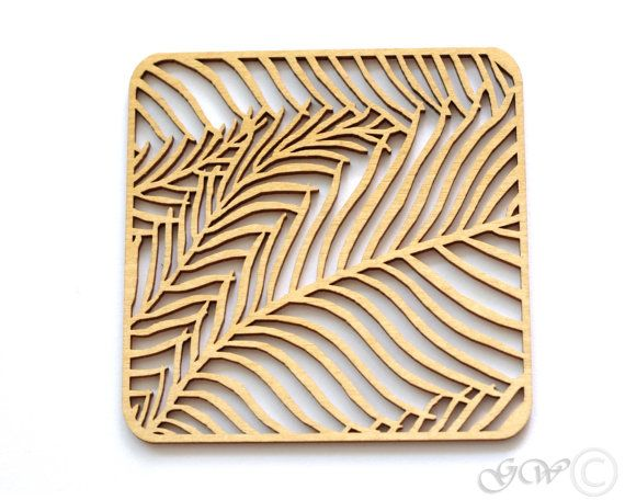 LASERCUTTER: Wooden Coaster with cute floral and natural patterns