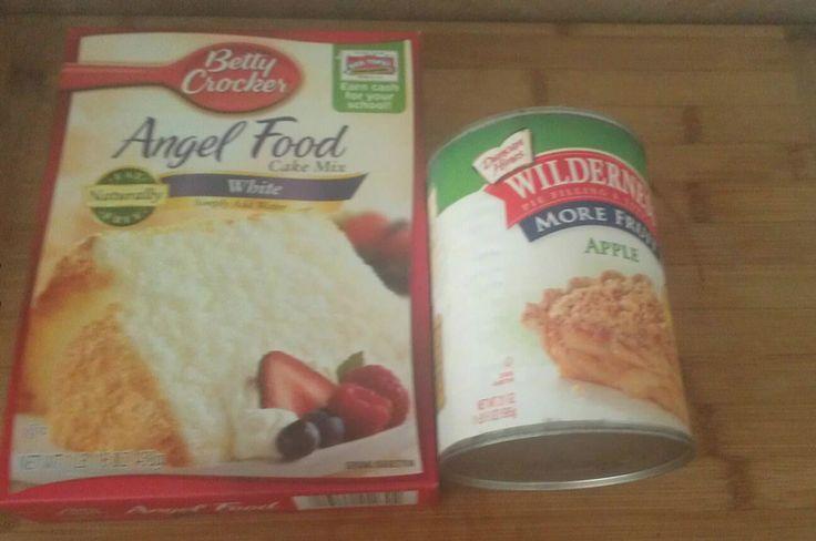 APPLE PIE CAKE 2 ingredients apple pie filling & box of angel food cake mix, mix together , bake, enjoy
