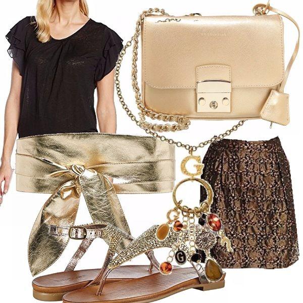 Anche dagli accostamenti più imèprobabili, può nascere l'eleganza. La blusa nera con doppio volant sulla spalla va molto di moda in quest'estate 2016. L'abbiniamo alla gonna marrone oro lavorata e spezziamo questi toni spenti col cinturone dorato. All'oro abbiniamo i fantastici infradito dorati, gioiello e la borsettina a tracolla. Un mare di ciondoli per rifinire il tutto.