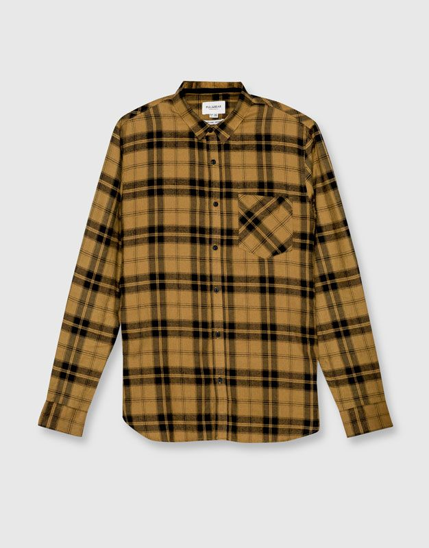 Pull&Bear - man - clothing - shirts - checked college shirt - mustard - 09470510-I2016