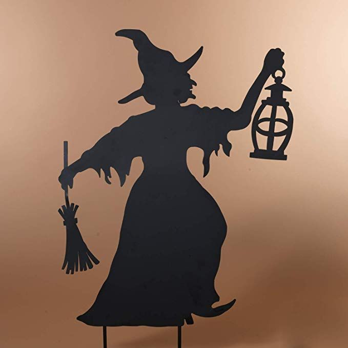 One Holiday Way Black Metal Witch Silhouette With Broom And