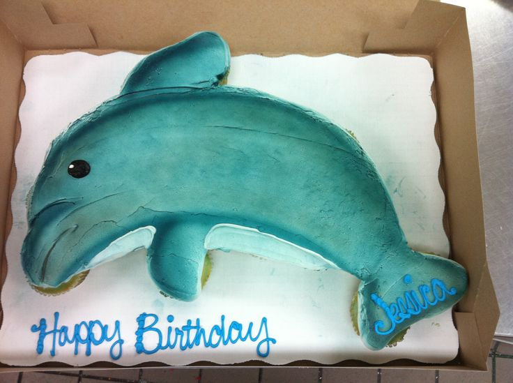 Dolphin Cupcake Cake - 24 Cupcakes, All Buttercream Frosting. This is a fun one for summer and I love using the airbrush to bring it to life!