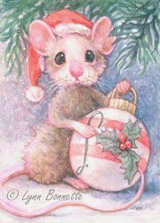 "Art by Lynn Bonnette    ""Mouse & Christmas Tree Ornament"""