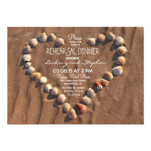 Beach Wedding Rehearsal Dinner beach wedding sea shells rehearsal dinner invite
