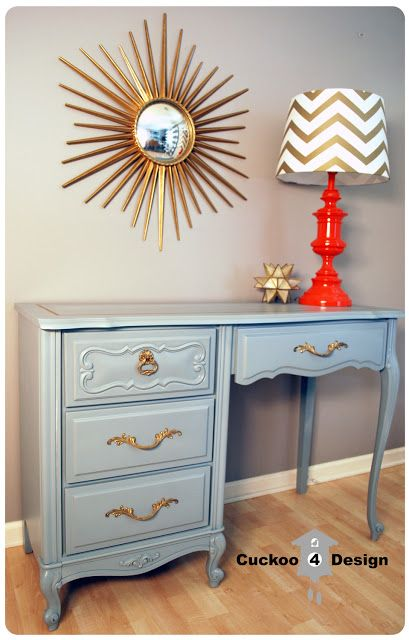grey french provincial desk makeover with gold accents