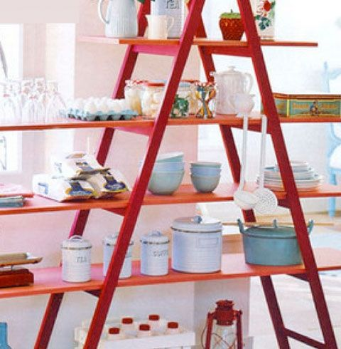 Small Kitchen Organizing Ideas - Space Saving Ladder Shelves - Click Pic for 42 DIY Kitchen Organization Ideas & Tips