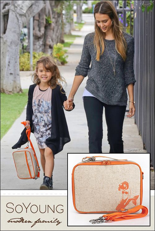 Jessica Alba lookin' good strolling along with daughter Honor and a SoYoung Lunch Box