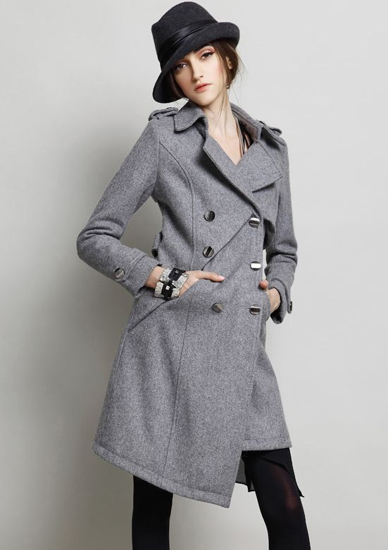 Grey Long Sleeve Epaulet Slim Woolen Coat US$125.90