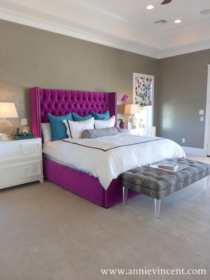 Street Of Dreams Arizona   Via Annie Vincent Interiors   Stunning Bedroom  With Tray Ceiling Over Gray Walls Whichu2026