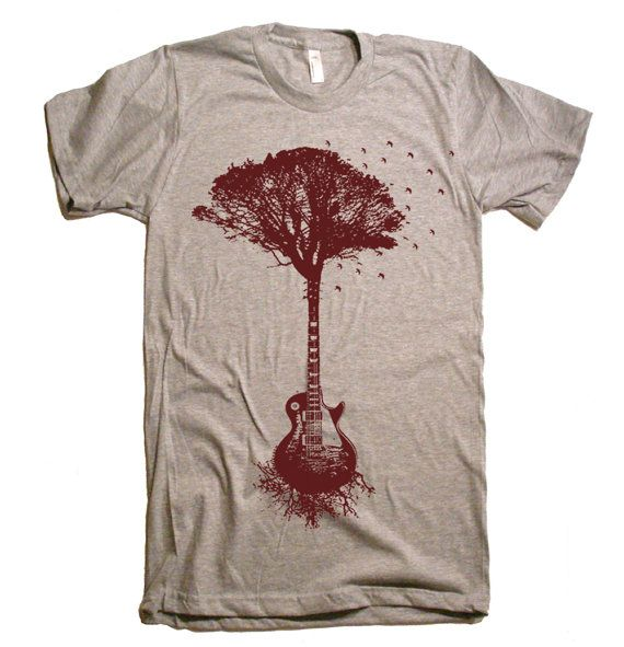 Mens Guitar Tree Of Life Science T Shirt - American Apparel Tshirt - XS S M L XL and XXL (28 Color Options) on Etsy, £11.64