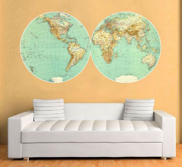 The 25 best wall stickers world map ideas on pinterest wall world map vintage decal large world map retro vinyl wall sticker world map wall gumiabroncs Image collections