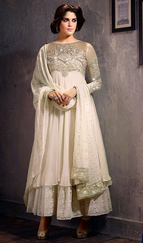 Off White Chiffon Georgette Net Layered Anarkali Suit