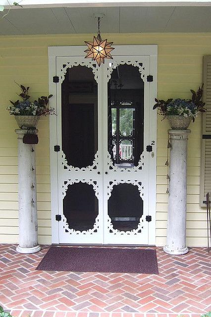 Awesome double screen door and light fixture