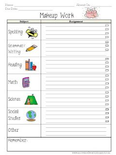 Love this Makeup Work form for absent students!