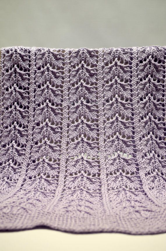 Lace Baby Blanket: Heirloom Quality Hand Knitted Purple Leaf