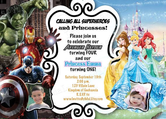 Sale Marvel Avengers And Disney Princesses By Invitesbymal