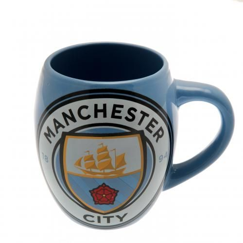 Large ceramic Manchester City tea tub mug in club colours and featuring the NEW Man City crest on the front with a smaller version on the back. FREE DELIVERY on all of our football gifts