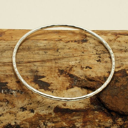 Andea Sterling Simple Hammered Finish Bangle - Simple yet stunning