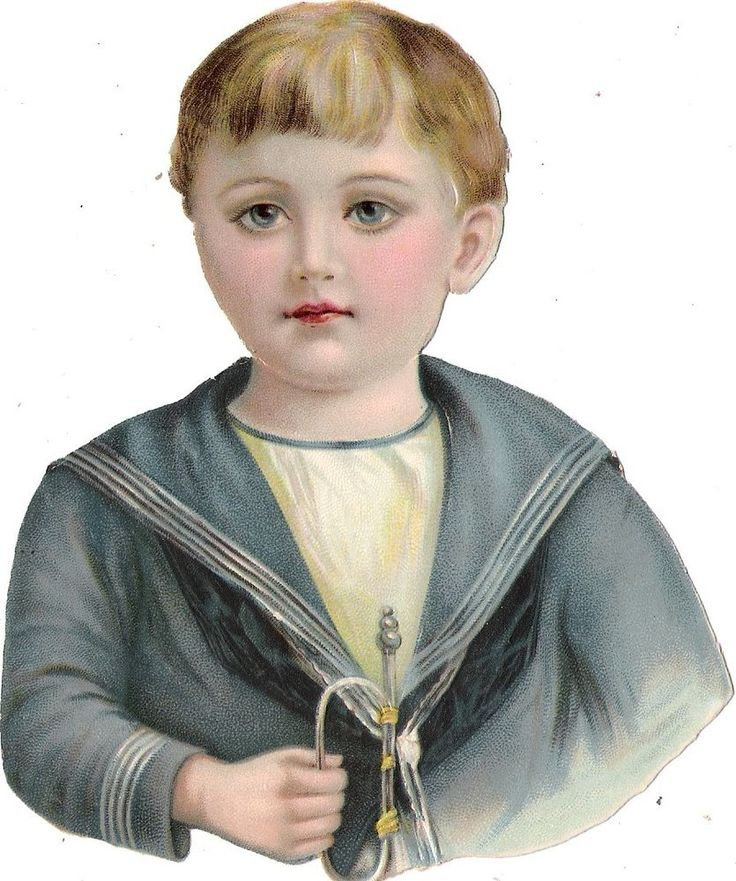Oblaten Glanzbild scrap die cut chromo Kind child 14cm  Matrose buste marin