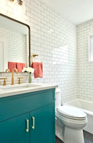 with black penny tile floors matte brass hardware and