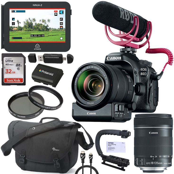 Canon EOS 80D Video Creator Kit with EF-S 18-135mm 1:3.5-5.6 IS USM Lens 1263C103, Atomos Ninja 2 Vidpro Stabilizer Hand Grip, Lowepro Passport Messenger Bag, Filter, Battery and Accessory Bundle. Canon EOS 80D Video Creator Kit With all Canon Accessories + Full USA Warranties PREMIUM CALUMET CAMERA BUNDLE INCLUDING:. Atomos Ninja 2 Hard Disk Field Recorder, Jumbl HDMI-A to Mini HDMI-C Cable. Tiffen 67mm Filters. Vidpro Stabilizer Hand Grip. Scadisk 32GB Memory Card, Card Reader / Writer....