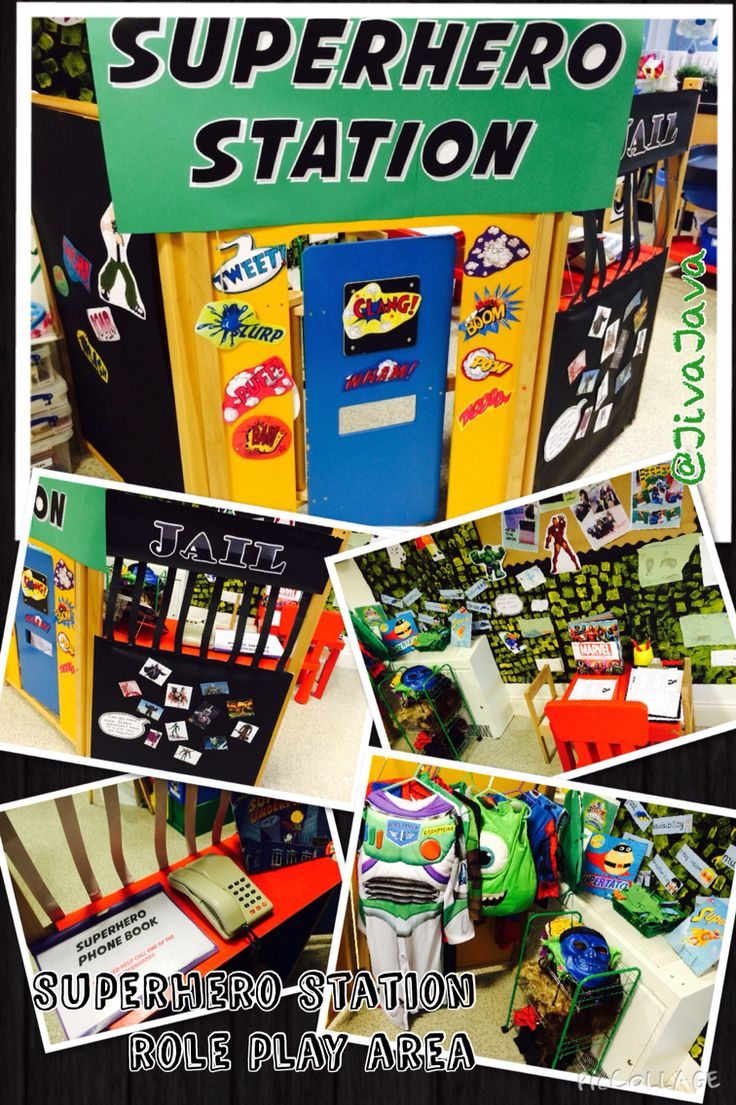 Superhero Station role play area - featuring superhero phone book, jail, marvel encyclopaedia & other superhero stories, incident writing forms and dressing up!