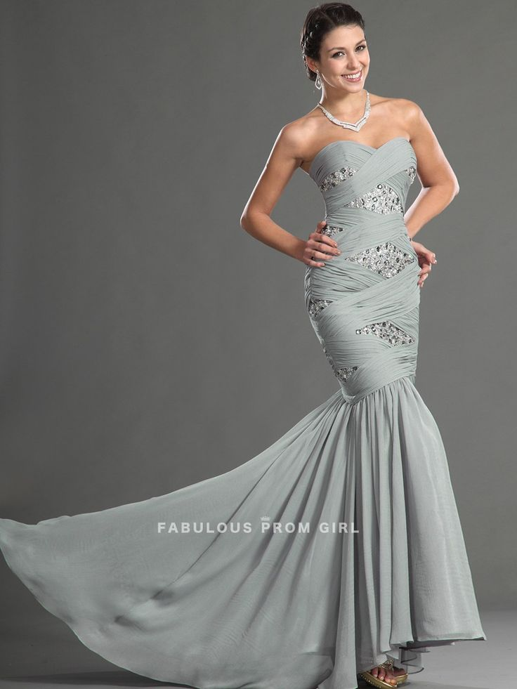 Trumpet / Mermaid Sweetheart  Beading  Sleeveless Floor-length Chiffon Prom Dresses / Evening Dresses