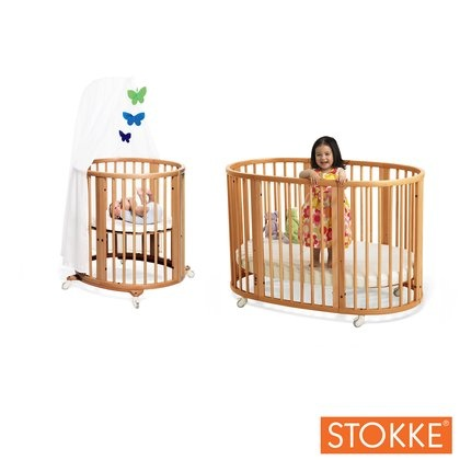 A round crib that expands with your baby. How cool is that?